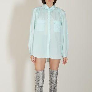 '80s light blue pastel long sleeve blouse